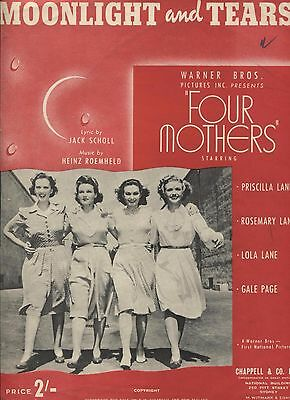 Moonlight and Tears (from Four Mothers) - Australian Sheet Music, 1940