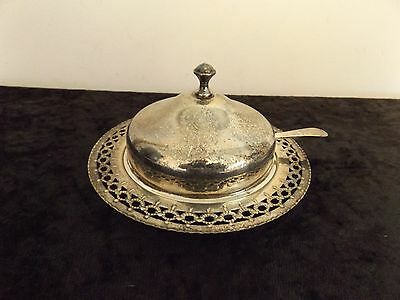 Vintage Silver Plated Butter Dish With Lid And Glass Insert