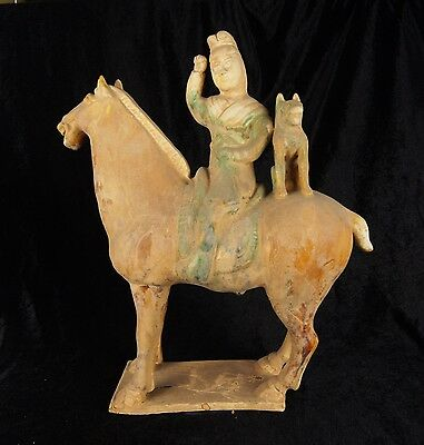Tang Dynasty Old Tang Sancai Chinese Antique Pottery Man Animal Horse Statue 898