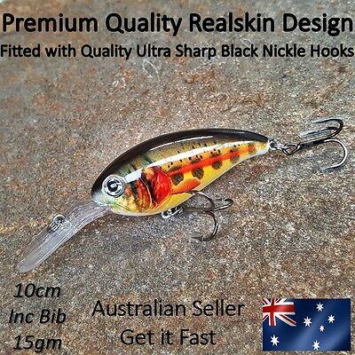 Freshwater Diving Lure Trout Redfin YellowBelly Cod Bass Perch Bream Barra 10cm