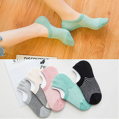 5-10 Pair Women Invisible Loafer Boat No Show Nonslip Liner Low Cut Cotton Socks