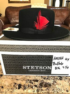 """Stetson 4 X Buffalo """"Amish"""" Hat Black Size  7 1/4 """"Worn in Tombstone"""" !"""