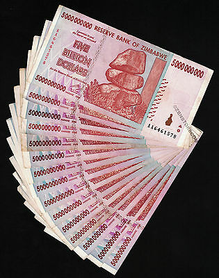 20//10//5 Billion Zimbabwe Dollars x 5 Bank Notes Each 15PCS 2008 AA AB Currency