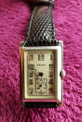 Art Deco Gruen Quadron cal. 157 14k White Gold Filled 37mm Case watch Serviced!