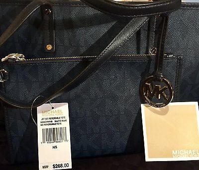 Authentic Michael Kors Baltic Blue Jet Set Md Reversible Tote + Matching Wallet