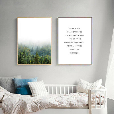 Nordic Art Forest Landscape Motivatioal Minimalist Canvas Poster Wall Decor 593