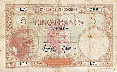 New Hebrides  5 Francs  ND. 1941  P 4b  Series L.71  Circulated Banknote E27D