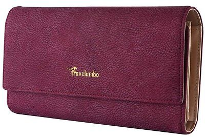 Lady Women's Leather Clutch Wallet Purse Long Card Holder Handbag Case Purple