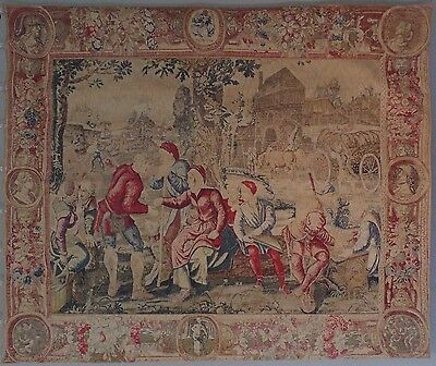 """HUGE Vintage French Aubusson Style Tapestry Verdure/Allegorical 91 inches x 74"""""""