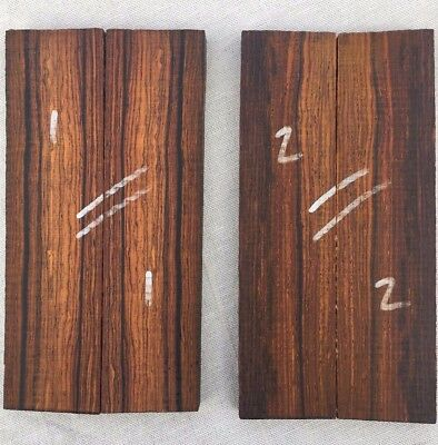 Highly figured cocobolo rosewood bookmatched knife scale / veneer / inlay sets