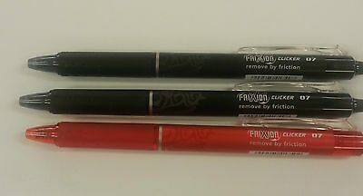 Pilot FriXion Gel Ink Rollerball Clicker 0.7mmRUBOUT PENS (2x BLACK, 1XRED) Pens