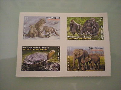 Australia 2016 Endangered Wildlife  4 Stamps S/A from booklet