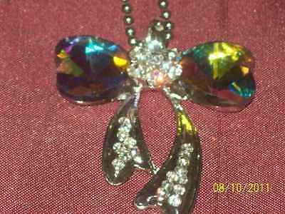 Beautiful Bow Design Multi Coloured Crystal  Pendant With Rhinestone Crystals