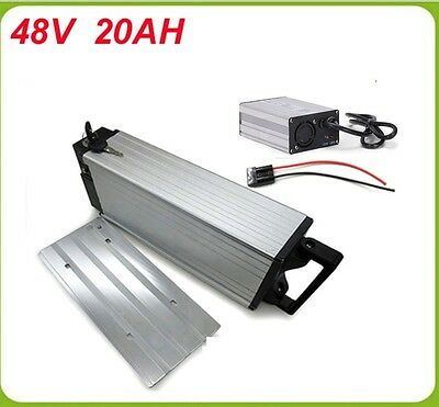 New rack mount 48v 20ah lithium ion battery for electric bikes with charger