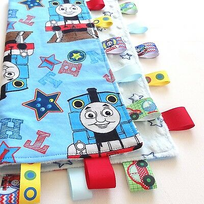LARGE Size Thomas The Tank Baby Taggie Security Blanket Toy Comforter Soft Cuddl