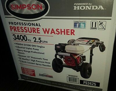 Brand New Simpson 3400 PSI 2.5 GPM Professional Gas Pressure Washer #PS3425