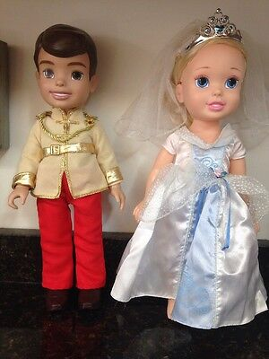 "Disney Princess Cinderella Prince Charming Wedding Toddler 14"" Tollytots Dolls"