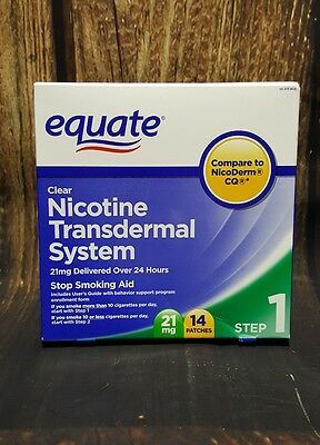 EQUATE Step 1 CLEAR Transdermal System Nicotine 14 Patches 21mg FREE AND FAST