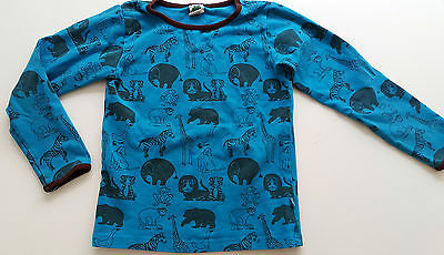 SMAFOLK Long Sleeve Animals T Shirt Top Scandi Retro Design Blue Brown 5-6 Years