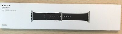 Genuine Apple 38mm Classic Buckle - MLHG2ZM/A - Black Leather Watch Band