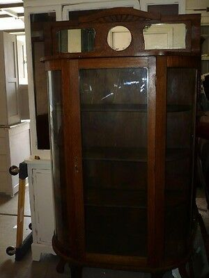 Antique Oak Curved Glass China Cabinet