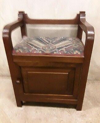 Unusual Antique/Vintage Panelled Mahogany Piano/Dressing Stool