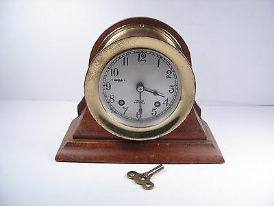 Vintage Chelsea Ship's Bell Nautical Clock With Base & Key