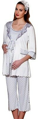 Maternity Pregnancy Nursing Sleepwear 3 Piece Pajama Set (Capri Pant Tank Robe)