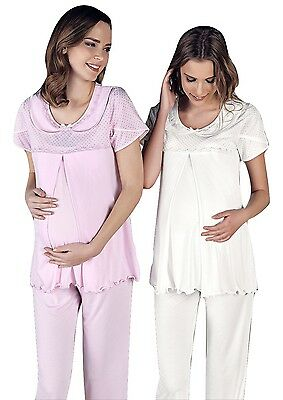 Maternity Pregnant Nursing, 2 Piece Pajama Set Creamy White Artis Collection
