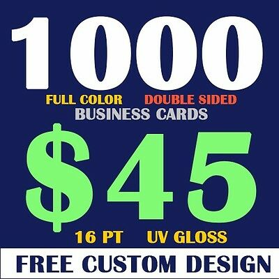 1000 Double Sided Full Color Business Cards - Free Design -Free Shipping