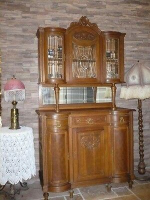 Antique French Louis XVI Oak Leaded Glass China Cabinet Buffet Sideboard