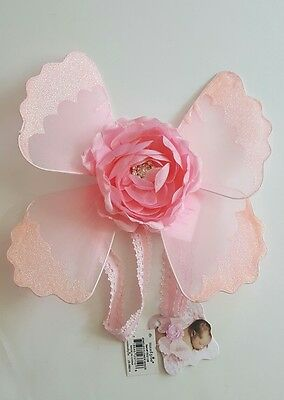 Mud Pie Newborn Baby Girl Jeweled Pink Flower Wings Photo Prop Precious