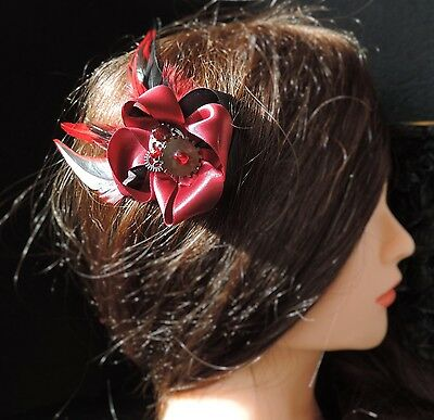 "Barrette inspiration steampunk ""Red'n'Black"""
