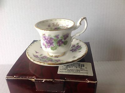 Royal Albert Flower of Month FEBRUARY miniature Cup and Saucer 2002 NIB