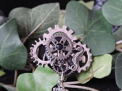 "Barrette steampunk ""Little Gears - Navy"""