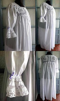 1880s SUPERB FRENCH NIGHTGOWN W VALENCIENNES LACE & LILAC SILK RIBBONS