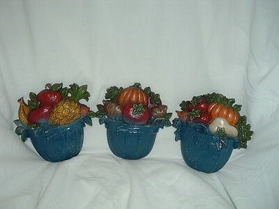 """Sexton 3 pc 1978 5"""" Metal Fruit and Vegetables Basket Wall Plaques! Vintage"""