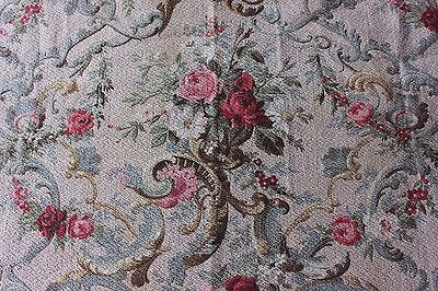 Antique French Roses & Scrolled Rococo Cotton Home Dec Printed Fabric Textile