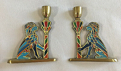 Vtg Judaica Tree of Life Phila Enamel Brass Lion 2 Candlestick Candle Holder Set