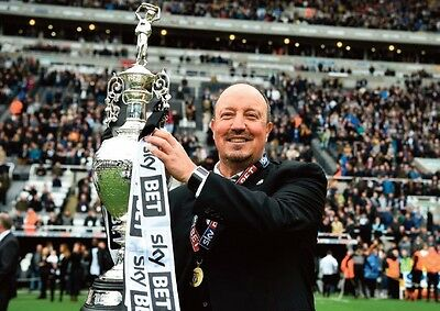 Newcastle United Championship Winners 2017 Rafa Benitez with Trophy POSTER
