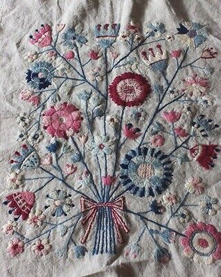 American Vintage Wool HandEmbroidered Floral Bouquet On Linen Pillow Front c1928
