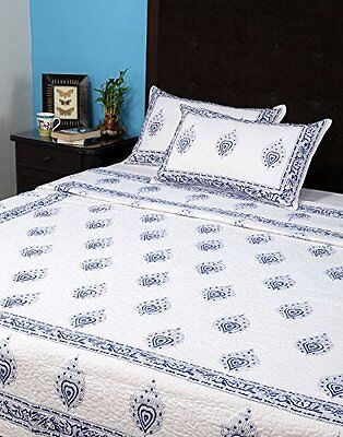 Room Décor mano Block stampa cotone Double Bedsheet & Copriletto (A0A)