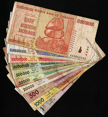 1 to 50 Billion Zimbabwe Dollars Set of 10 Banknotes Special Price! Pre Trillion