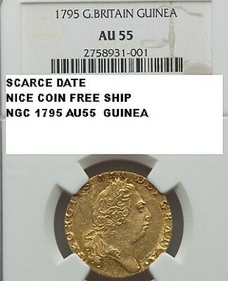 Great Britain 1795 Us Colonial Gold Guinea Coin Ngc Au55 Nice Coin Scarcer Date