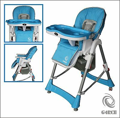 G4RCE Foldable 3 IN 1 Baby Toddler Infant High chair Feeding Recliner Seat Blue