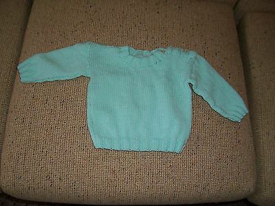 New Hand Knitted Baby Jumper Acqua  3 - 6  Months App