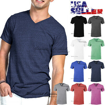 22c878fadd53 V Neck T Shirt Short Sleeve Tri Blend Blank Tee Slim Fit Casual Top Plain  Men