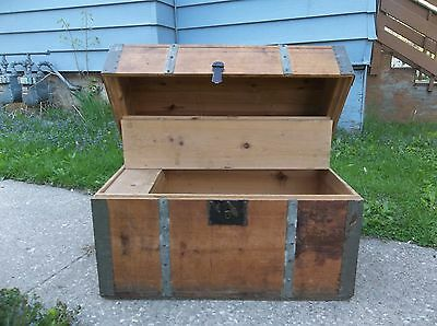 Vintage Dome Top Wooden Steamer Chest Trunk Sawtooth Metal Work