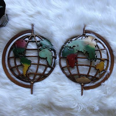Vintage Set Pair SEXTON Metal World Globe Continents Map Wall Art Plaques H02
