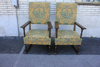 Charming Large & Comfortable Pair of Oak Spanish Revival Side, Accent Armchairs